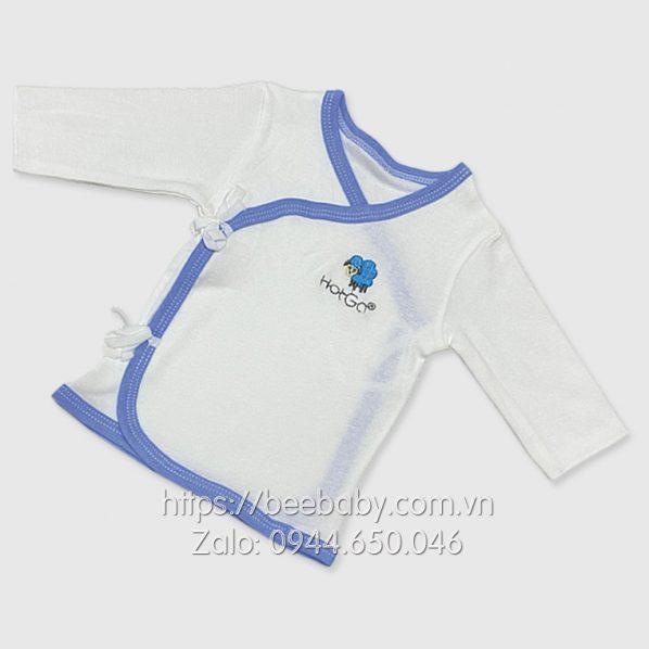 Áo cột dây sơ sinh Hotga tay dài trắng viền xanh